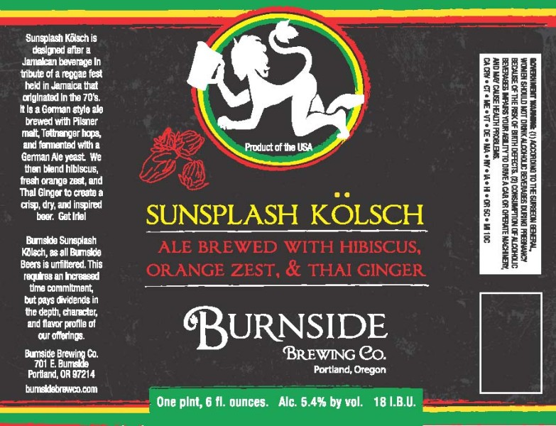 Burnside Brewing Sunsplash Kolsch label