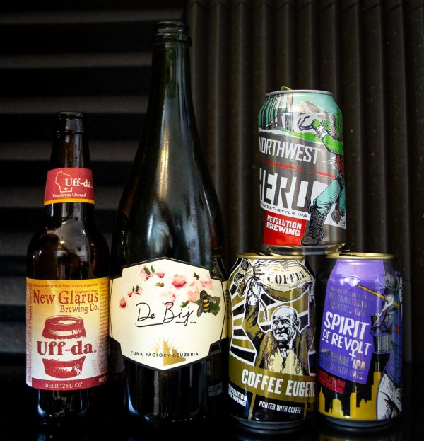 Pictured: Beers from Funk Factory, Revolution Brewing, and New Glarus.