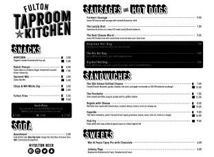 Fulton Taproom Kitchen Menu