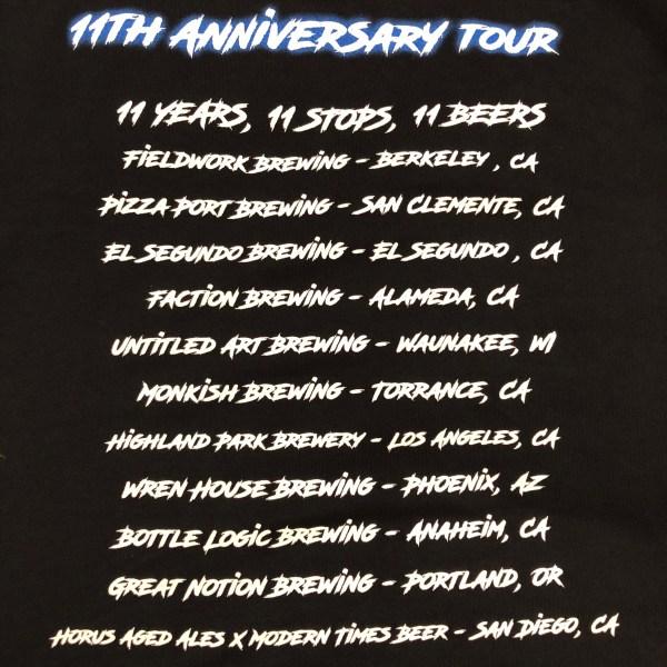 11th Anniversary Tour Tee (back)