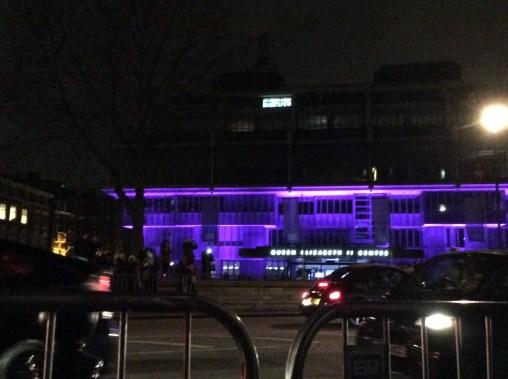 A random building is lit up