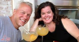 Wedding Entertainment Director® Elisabeth Scott Daley enjoying margaritas at Plaza Azteca with her husband, Steven Daley.