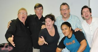 Wedding Entertainment Directors® Elisabeth Scott Daley & Peter Merry having fun with the attendees of their Taking Your Stage Workshop. Click on this photo to learn more about their Taking Your Stage Workshop.