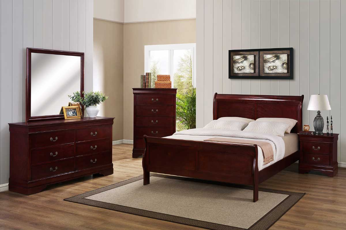 Cherry Bedroom Set  The Furniture Shack  Discount