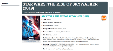 Star Wars: The Rise of Skywalker Awarded 12A UK Rating