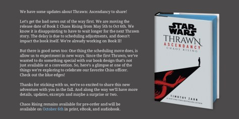 Timothy Zahn's Thrawn Ascendency Pushed Back to October