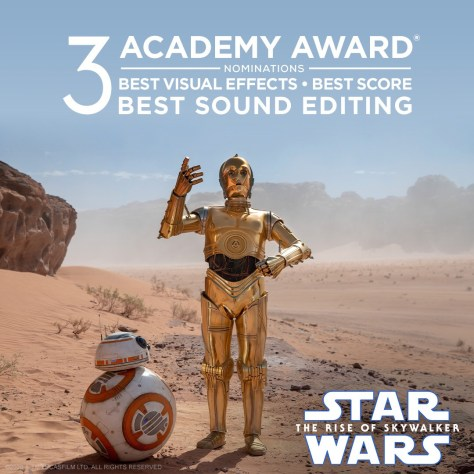 The Rise Of Skywalker Nominated for Three Academy Awards