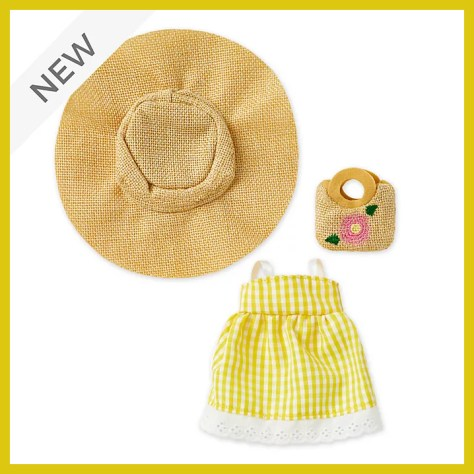 Disney Store nuiMOs Small Soft Toy Yellow Gingham Dress with Sunhat and Straw Bag