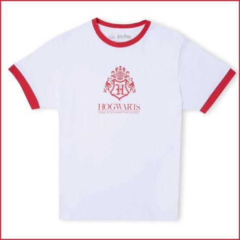 Harry Potter Hogwarts School Unisex Ringer T-Shirt - White / Red