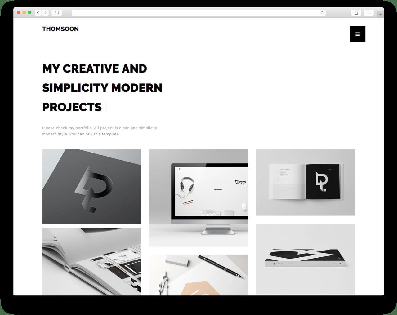 THOMSOON | Многоцелевой веб-сайт с минималистичным дизайном и адаптивной версткой