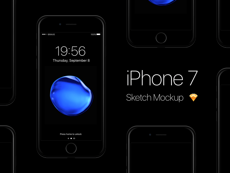 Free iPhone 7 - Jet Black Sketch Mockup