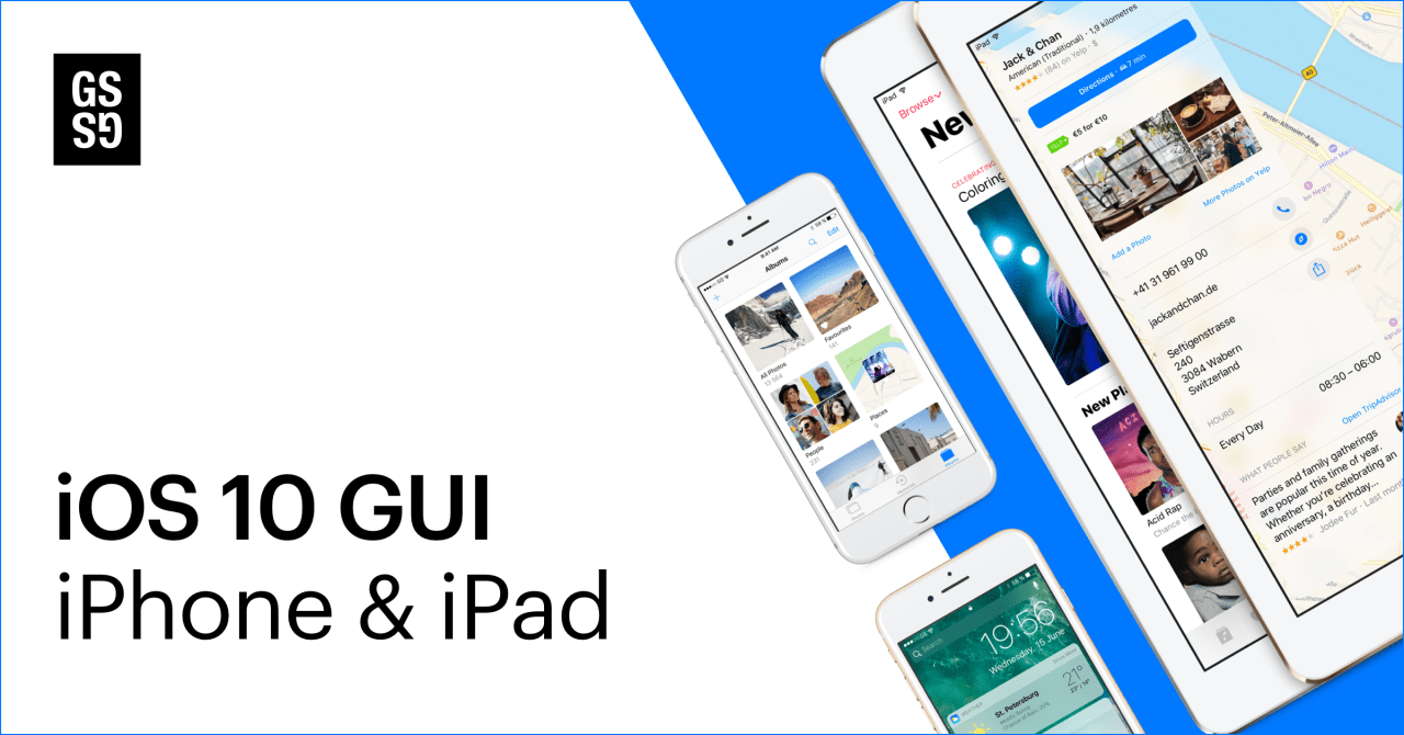 Массивный iOS 10 GUI iPhone и iPad набор для Sketch, Craft Library, Photoshop и Adobe XD