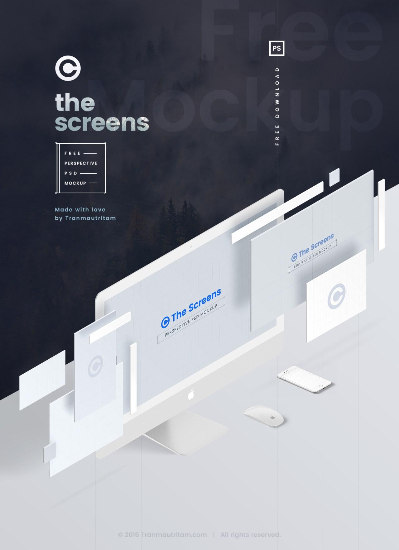 Бесплатные PSD мокапы в перспективе для презентации веб-проектов