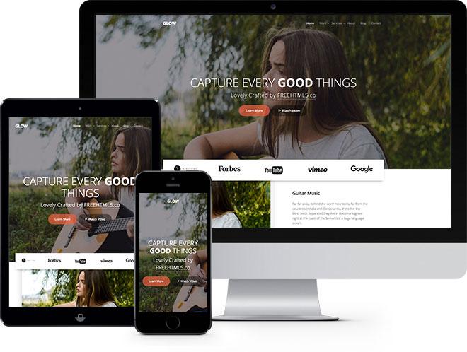 Glow | Бесплатный многоцелевой HTML5 шаблон построен с помощью Bootstrap