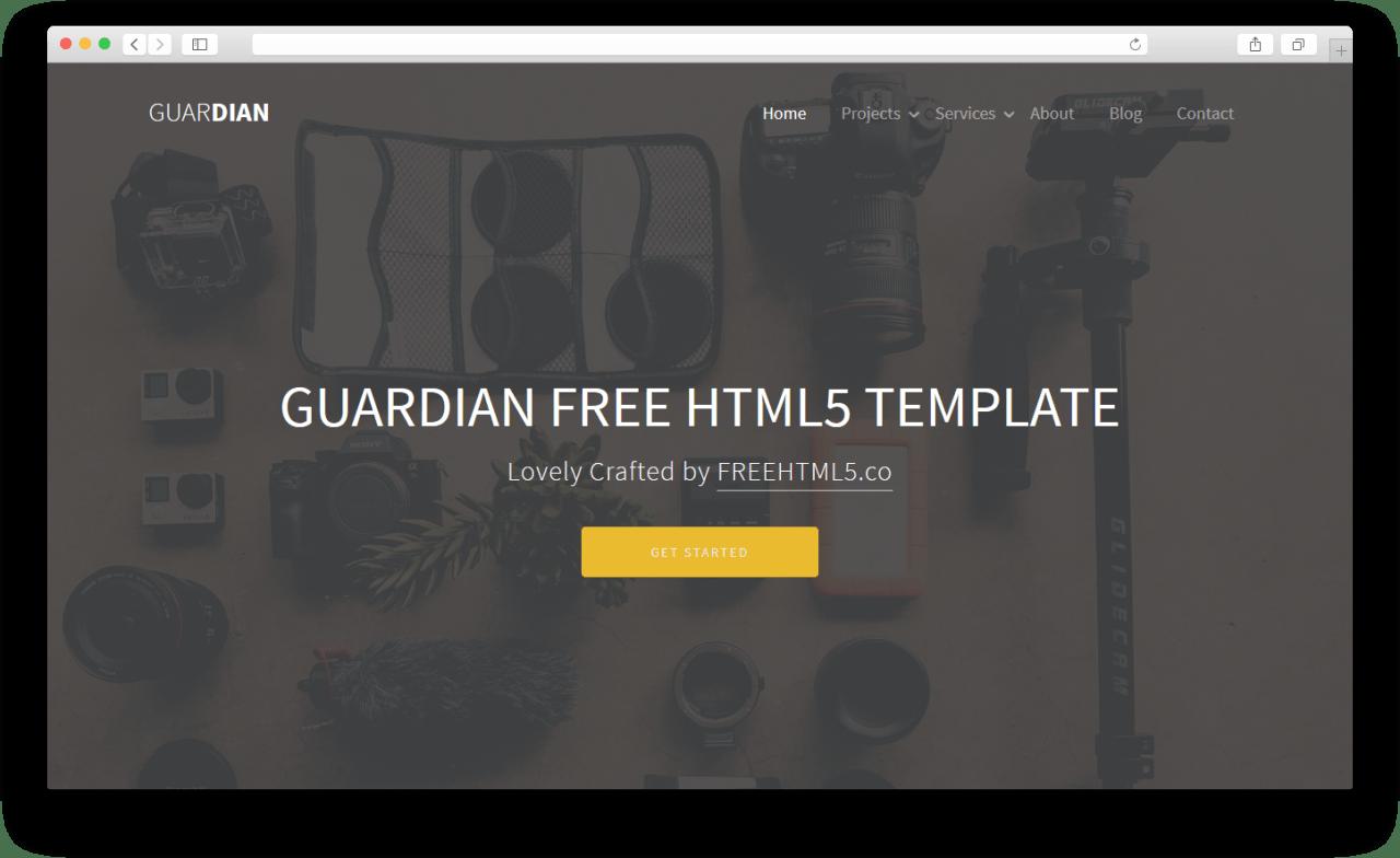 Guardian | Бесплатный шаблон сайта сделанный на Bootstrap