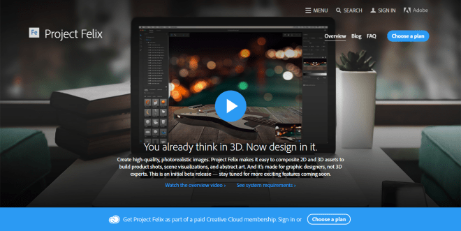 Project Felix from Adobe - 2D and 3D compositing design tools