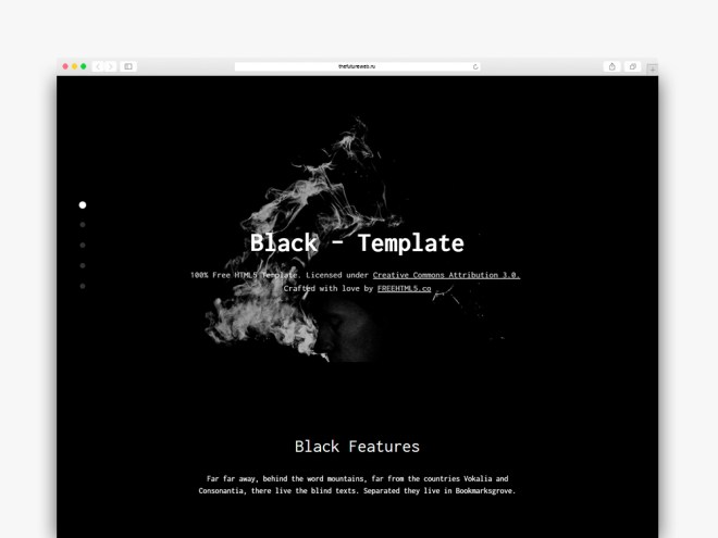 Black One Page Free HTML5 Bootstrap Template for Landing Pages