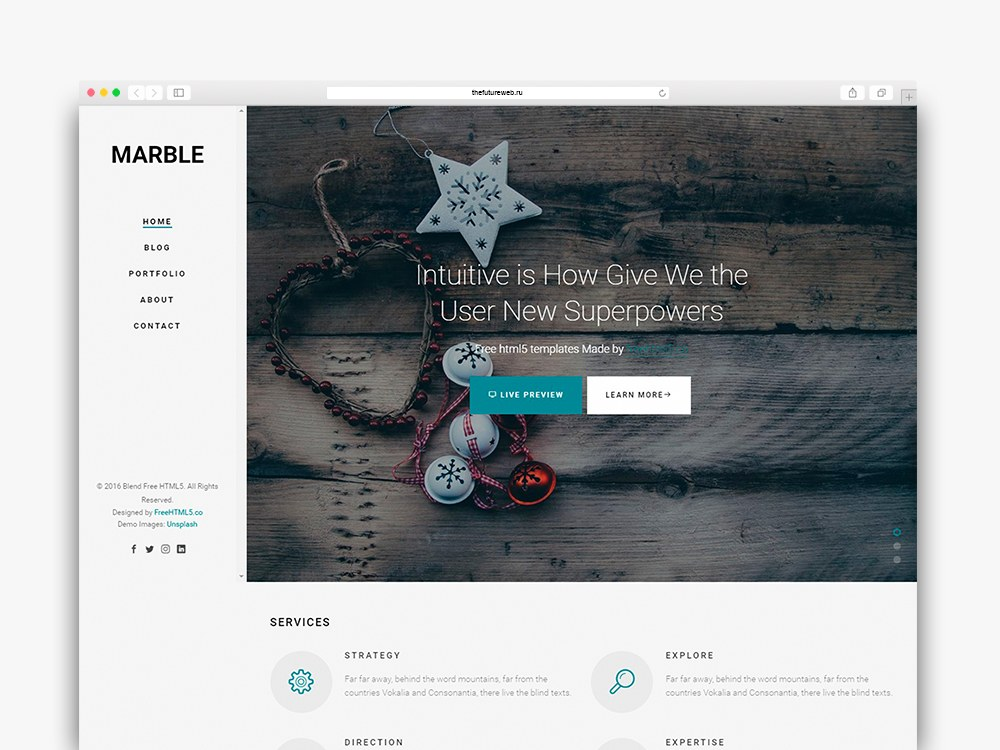 Marble Free HTML5 Bootstrap Template for Portfolio or Multi Purpose Websites