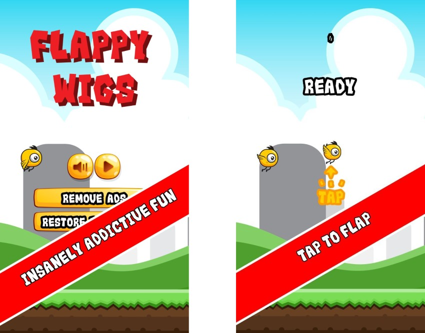 Flappy Wigs Universal iOS Game (Swift Flappy Bird)