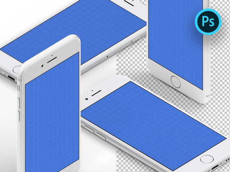 Бесплатные изометрические мокапы iPhone 7: Белый – Изометрические мокапы iPhone в разрешении 4K
