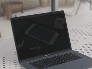 Ультра-реалистичный бесплатный PSD мокап Macbook