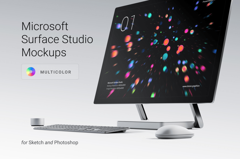 Мокапы Microsoft Surface Studio для Sketch 45+ и Photoshop CS4+