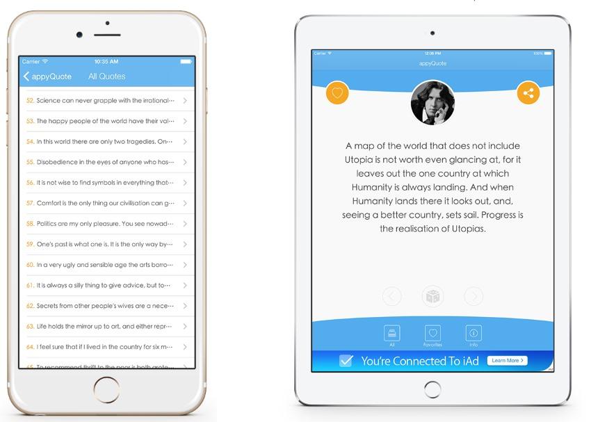 appyQuote - iOS App for Quotes, Jokes, Wishes, Motivation, Money ecc.