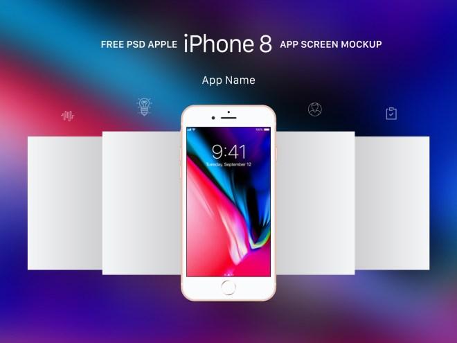 Бесплатный PSD мокап экранов приложения Apple iPhone 8 в Gold, Gray и Space Gray цветах