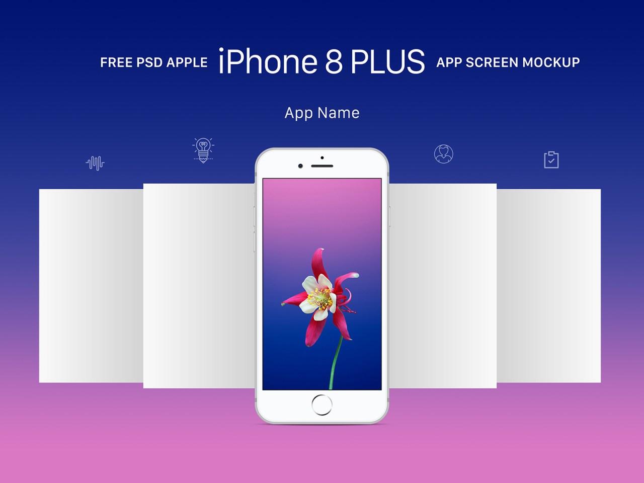 Бесплатный PSD мокап экранов приложения Apple iPhone 8 Plus Gold, Gray и Space Gray