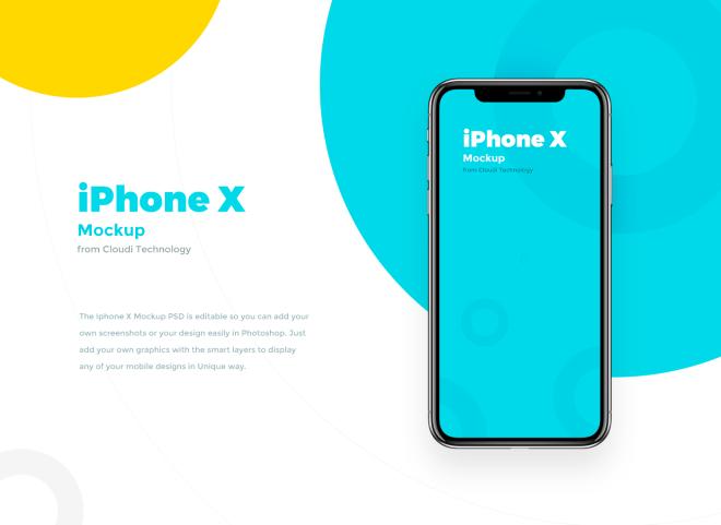Бесплатный PSD файл: Мокап iPhone X для презентации UI
