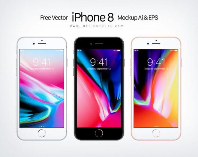Бесплатный векторный мокап Apple iPhone 8 в форматах Ai и EPS
