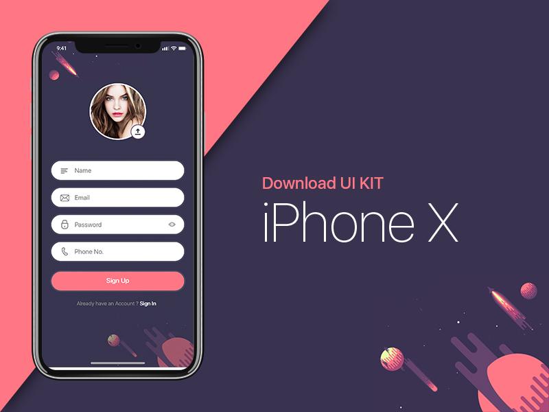 Бесплатный PSD макетiPhone X и комплект пользовательского интерфейса iOS 11
