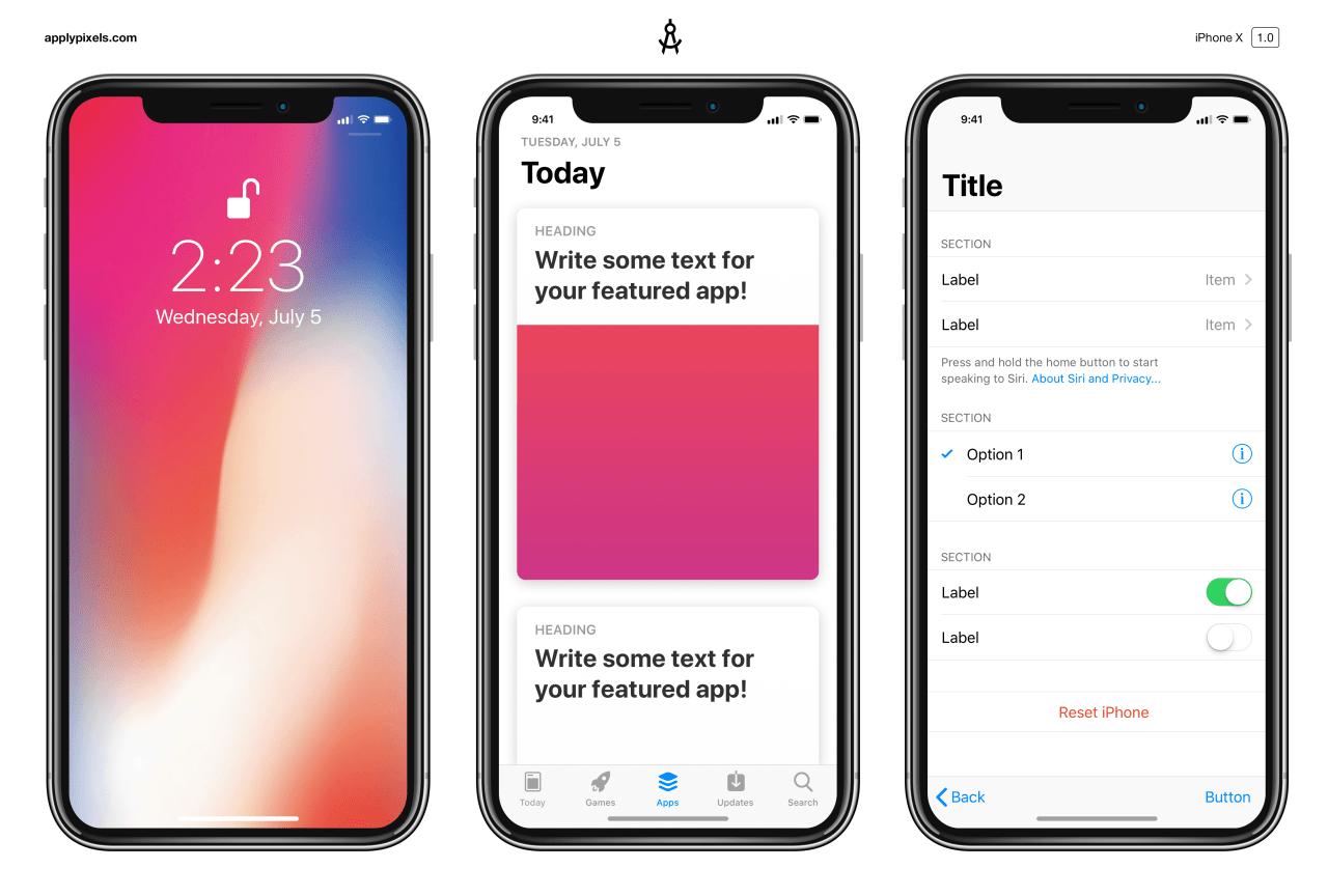 Мокап iPhone X и шаблоныэлементов интерфейса iOS 11 для Photoshop