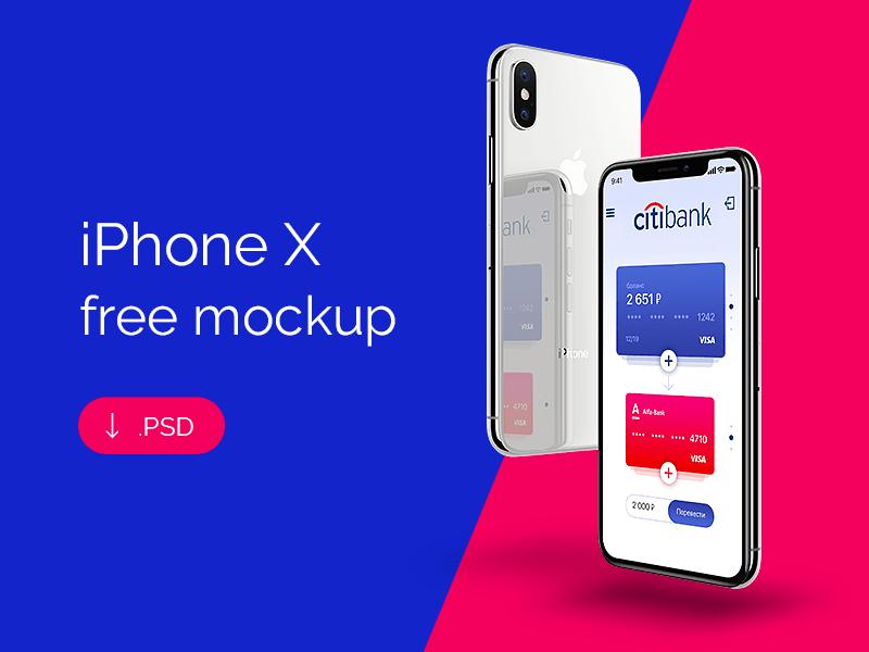 Бесплатный мокап iPhone X для Photoshop