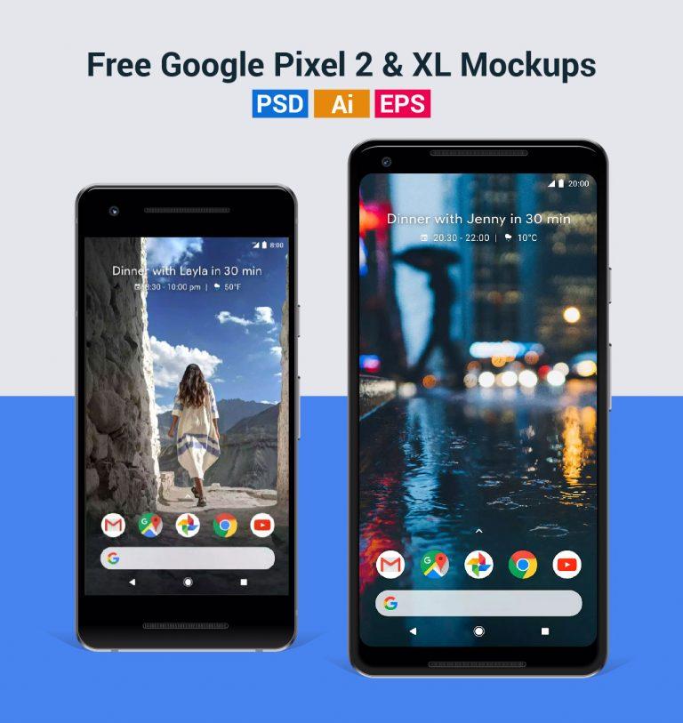 Бесплатные мокапы Google Pixel 2 и Pixel 2 XL в форматах PSD, Ai и EPS