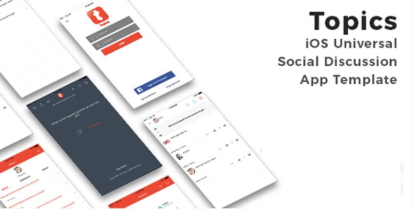Topics – Шаблон приложения для социальных iOS приложений