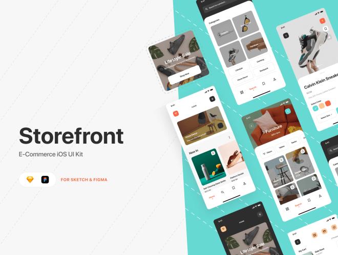 Storefront iOS UI Kit – UI Kit электронной коммерции iOS для Figma и Sketch