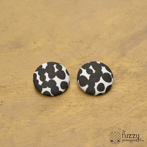 Abstract Dots Black and White XL Fabric Button Earrings
