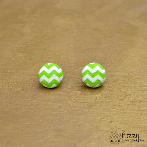 Green and White Chevron M Fabric Covered Button Earrings
