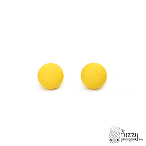 Solid Banana Yellow M Fabric Button Earrings