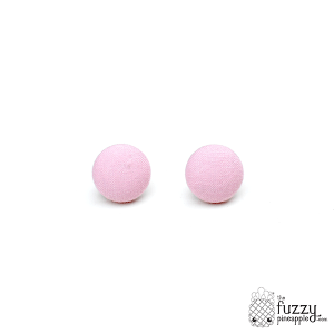 Solid Light Pink M Fabric Covered Button Earrings