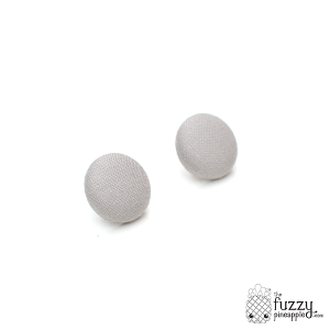 Solid Ash Gray M Fabric Covered Button Earrings