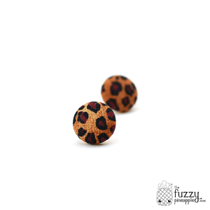 Leopard Cat M Fabric Button Earrings