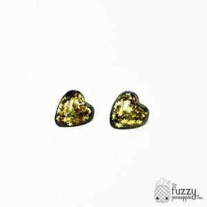 Gold Star Heart Earrings in Black