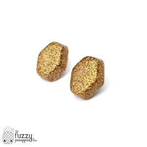 Gold Glitter Hexagon Earrings