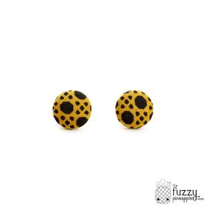Kaleidoscope Dreams M Fabric Button Earrings