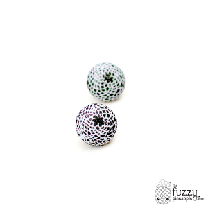 Black Blossom M Fabric Button Earrings
