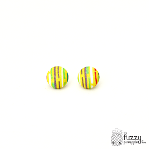 A Dash of This M Fabric Button Earrings