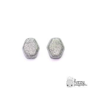 Silver Glitter Hexagon Earrings