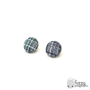 Criss Cross in Black M Fabric Button Earrings